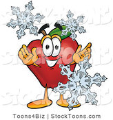 Stock Cartoon of a Happy Red Apple Character Mascot with Icy Snowflakes in Winter by Toons4Biz