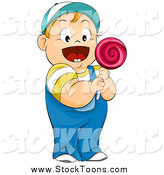 Stock Cartoon of a Happy Red Haired White Chubby Boy Holding a Lolipop by BNP Design Studio