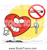 Stock Cartoon of a Happy Red Heart Holding a Smoking Prohibited Sign by Hit Toon