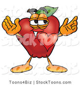 Stock Cartoon of a Happy Romantic Red Apple Character Mascot with His Heart Beating out of His Chest and Eyebrows Raised by Toons4Biz