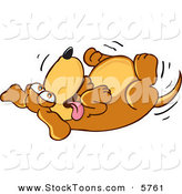 Stock Cartoon of a Happy Silly Brown Dog Mascot Cartoon Character Rolling Around on His Back, Asking for a Belly Rub by Toons4Biz