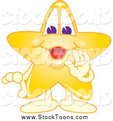 April 8th, 2014: Stock Cartoon of a Happy Star School Mascot Whispering by Toons4Biz