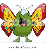 Stock Cartoon of a Happy Talking Butterfly by Cory Thoman