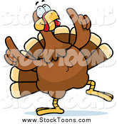Stock Cartoon of a Happy Turkey Bird Doing a Dance by Cory Thoman