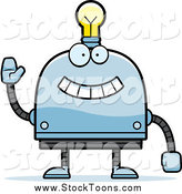 Stock Cartoon of a Happy Waving Light Bulb Headed Robot by Cory Thoman