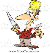 Stock Cartoon of a Happy White Male Construction Worker Holding a Hammer and Saw by Toonaday