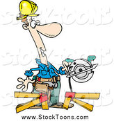Stock Cartoon of a Happy White Repair Man Using a Circular Saw by Toonaday