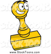 Stock Cartoon of a Happy Yellow Rubber Stamp Character by Any Vector
