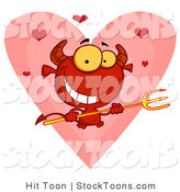 Stock Cartoon of a Hearts over a Devil by Hit Toon