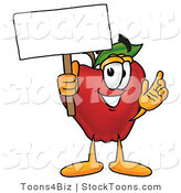 Stock Cartoon of a Helpful Red Apple Character Mascot Holding a Blank White Sign over His Head by Toons4Biz