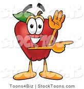 Stock Cartoon of a Helpful Red Apple Character Mascot Waving and Pointing to the Right by Toons4Biz