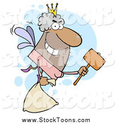 Stock Cartoon of a Hispanic Guy Tooth Fairy Flying with a Bag and Mallet by Hit Toon