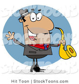 Stock Cartoon of a Hispanic Saxophonist by Hit Toon