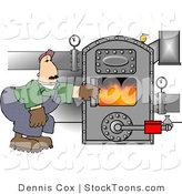 Stock Cartoon of a Hot Boiler Worker Checking a Valve by Dennis Cox