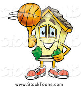 Stock Cartoon of a House Character Spinning a Basketball on His Finger by Toons4Biz
