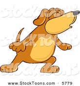 Stock Cartoon of a Howling Brown Dog Mascot Cartoon Character with Closed Eyes, Singing or Howling by Toons4Biz