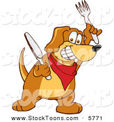 Stock Cartoon of a Hungry and Happy Brown Dog Mascot Cartoon Character Holding a Knife and Fork, Extremely Hungry by Toons4Biz