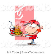 Stock Cartoon of a Hungry Boy in Red, Licking His Lips by Hit Toon
