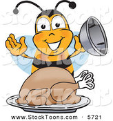 Stock Cartoon of a Hungry Bumblebee Mascot Cartoon Character Holding the Lid to a Platter with a Thanksgiving Turkey on It by Toons4Biz