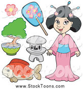 Stock Cartoon of a Japanese Woman and Accessories by Visekart