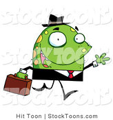 Stock Cartoon of a Jolly Monster in a Suit by Hit Toon