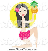 Stock Cartoon of a Kneeling Hawaiian Girl Holding a Pineapple by Maria Bell