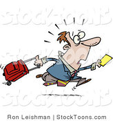 Stock Cartoon of a Late Traveler Man Running by Ron Leishman