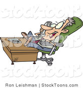 Stock Cartoon of a Lazy Business Man Relaxing Talking on the Phone by Ron Leishman