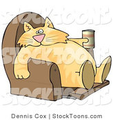 Stock Cartoon of a Lazy Cat with a Beer in a Recliner by Djart