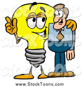 Stock Cartoon of a Light Bulb Character Talking to a Business Man by Toons4Biz