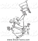 Stock Cartoon of a Lineart Businessman Balancing a Chair on His Nose by Toonaday