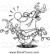 Stock Cartoon of a Lineart Businessman Wearing Antlers and Holding a Drink While Draped in Christmas Lights by Toonaday