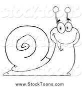 Stock Cartoon of a Lineart Cheerful Snail by Hit Toon