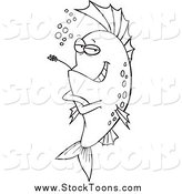 Stock Cartoon of a Lineart Cool Fish Chewing on Straw by Ron Leishman