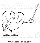 Stock Cartoon of a Lineart Heart Using a Pointer Stick by Hit Toon