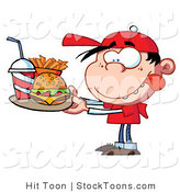 Stock Cartoon of a Little Caucasian Boy by Hit Toon