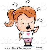 Stock Cartoon of a Little Girl Singing by Cory Thoman
