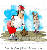 Stock Cartoon of a Little League Baseball Player Pitcher and Batter by Dennis Cox