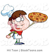 Stock Cartoon of a Little Pizza Boy by Hit Toon