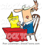 Stock Cartoon of a Lone Man Eying a Restaurant Menu by Toonaday