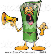 Stock Cartoon of a Loud and Annoying Green Carpet Mascot Cartoon Character Screaming into a Megaphone by Toons4Biz