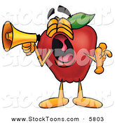 Stock Cartoon of a Loud Cartoon Red Apple Character Mascot Screaming into a Megaphone by Toons4Biz
