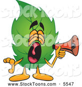 Stock Cartoon of a Loud Leaf Mascot Cartoon Character Screaming into a Megaphone by Toons4Biz