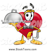 Stock Cartoon of a Love Heart Character Waiter Serving a Platter by Toons4Biz