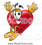 July 28th, 2015: Stock Cartoon of a Love Heart Mascot Jumping by Toons4Biz