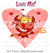 Stock Cartoon of a Love Me Text over a Devil by Hit Toon