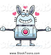 Stock Cartoon of a Loving Robot Rabbit Wanting a Hug by Cory Thoman