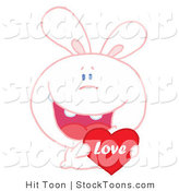 Stock Cartoon of a Loving White Bunny by Hit Toon