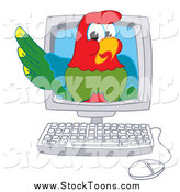 Stock Cartoon of a Macaw Parrot in a Computer by Toons4Biz