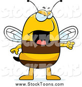Stock Cartoon of a Mad Bee Pointing by Cory Thoman